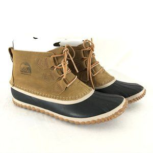 Sorel Womens Out N About Leather Duck Boots Brown